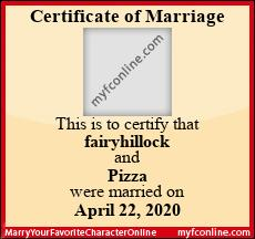This is to certify that fairyhillock and Pizza were married on April 22, 2020